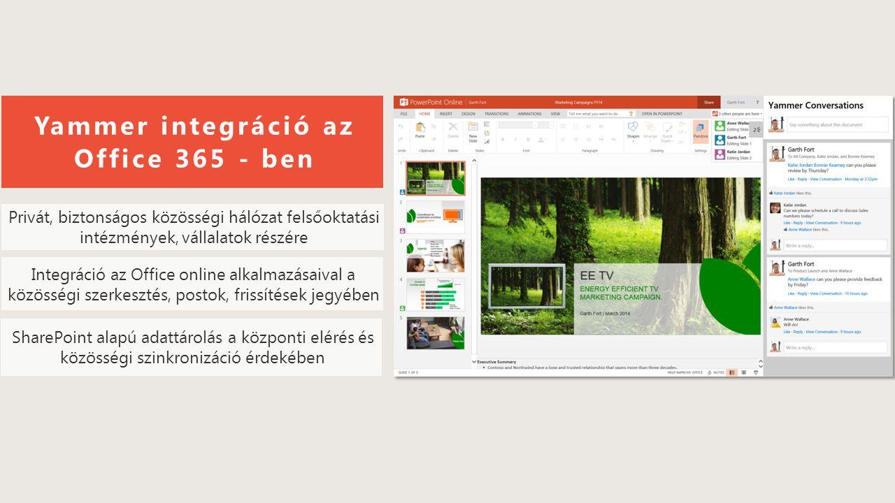 OneDrive e-Mail Skype for Business Telefonhívás SharePoint Site Csoportok Skype for Business konferencia és valós idejű együttműködés Széleskörű információ- megosztás a vállalati közösségen belül (Yammer) Vállalati intranet Érintettek száma Információtovábbítás sebessége