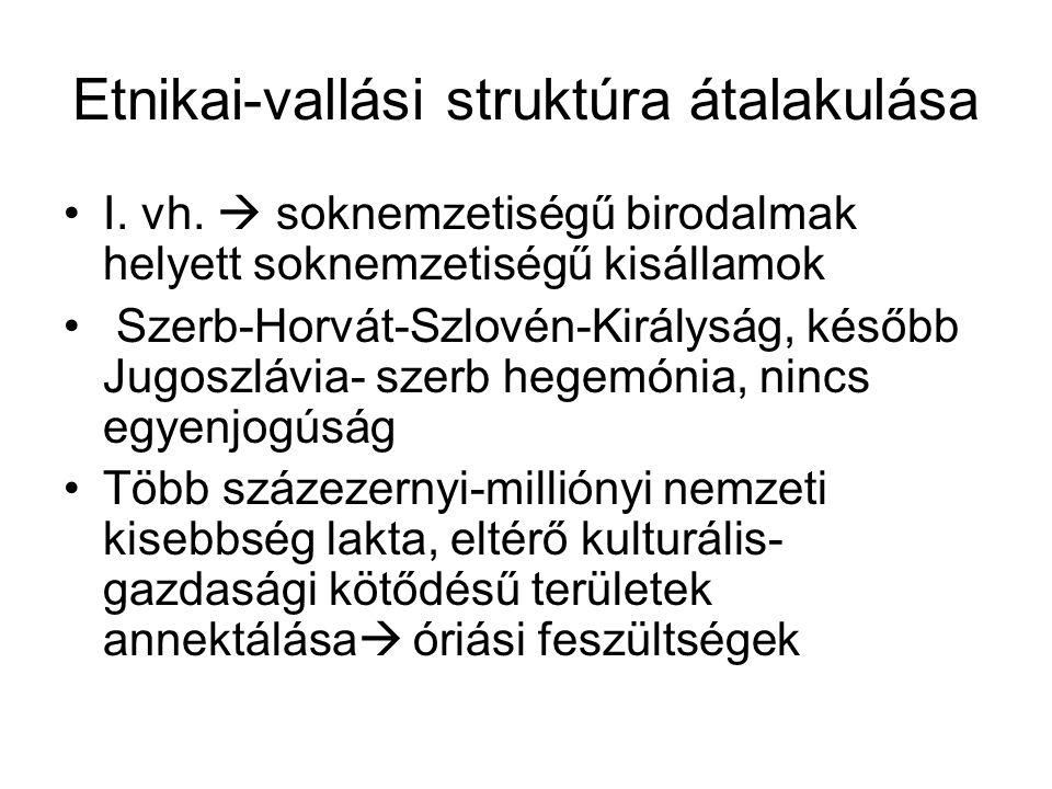 Etnikai-vallási struktúra átalakulása I. vh.  soknemzetiségű birodalmak helyett soknemzetiségű kisállamok Szerb-Horvát-Szlovén-Királyság, később Jugo