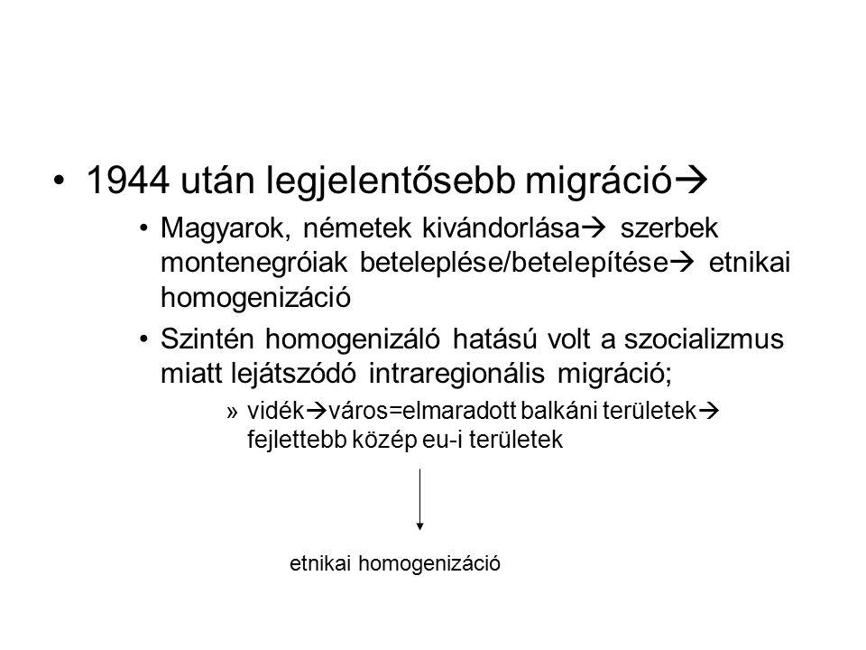 1944 után legjelentősebb migráció  Magyarok, németek kivándorlása  szerbek montenegróiak beteleplése/betelepítése  etnikai homogenizáció Szintén ho