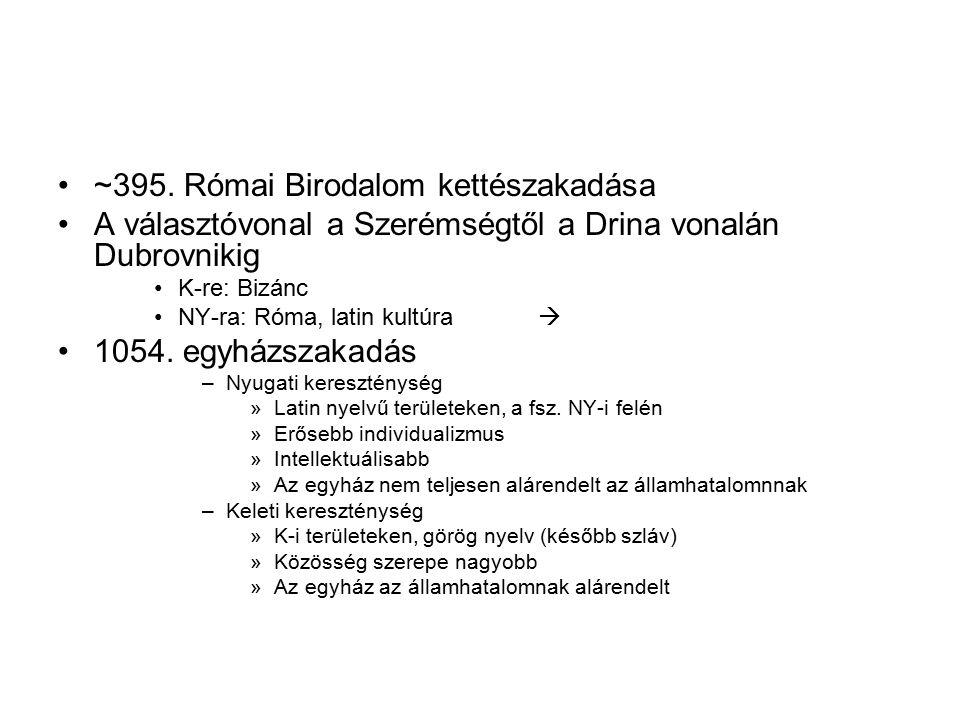 ~395. Római Birodalom kettészakadása A választóvonal a Szerémségtől a Drina vonalán Dubrovnikig K-re: Bizánc NY-ra: Róma, latin kultúra  1054. egyház