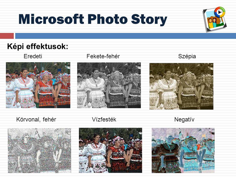 Microsoft Photo Story Képi effektusok: Eredeti Fekete-fehér Szépia Körvonal, fehér Vízfesték Negatív