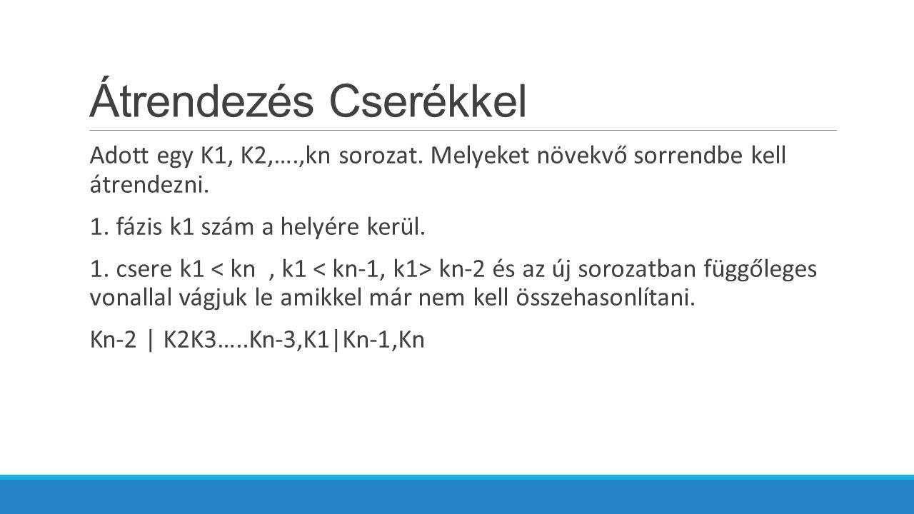 Átrendezés Cserékkel Adott egy K1, K2,….,kn sorozat.