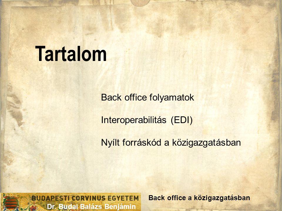 Tartalom Back office a közigazgatásban Dr. Budai Balázs Benjámin Back office folyamatok Interoperabilitás (EDI) Nyílt forráskód a közigazgatásban