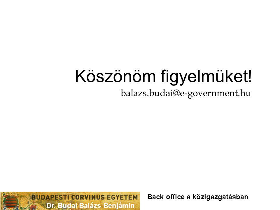 Dr. Budai Balázs Benjámin Köszönöm figyelmüket! balazs.budai@e-government.hu Back office a közigazgatásban