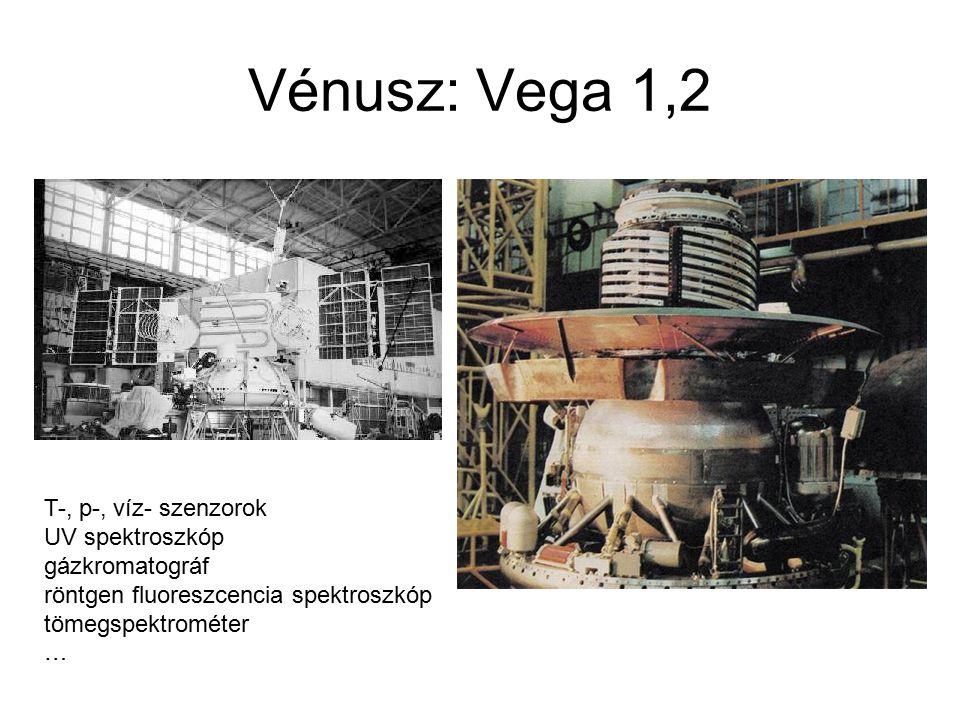 Vénusz: Vega 1,2 T-, p-, víz- szenzorok UV spektroszkóp gázkromatográf röntgen fluoreszcencia spektroszkóp tömegspektrométer …