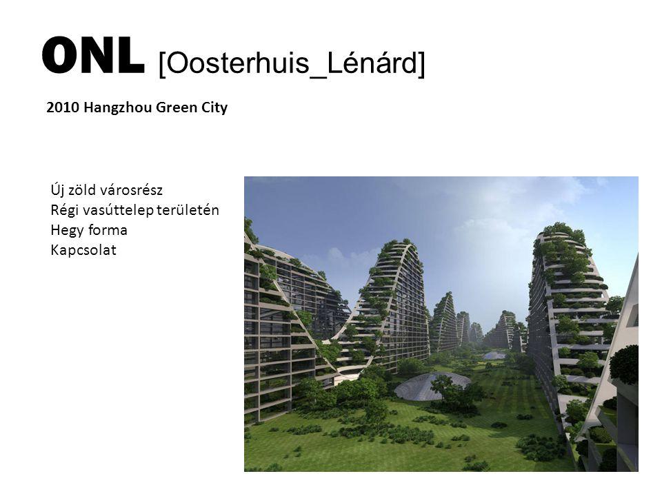 ONL [Oosterhuis_Lénárd] 2010 Hangzhou Green City Új zöld városrész Régi vasúttelep területén Hegy forma Kapcsolat