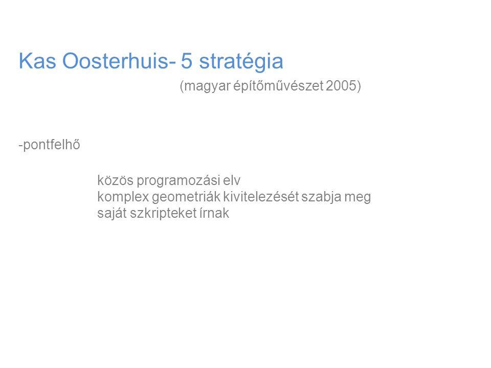 Kas Oosterhuis- 5 stratégia (magyar építőművészet 2005) -pontfelhő közös programozási elv komplex geometriák kivitelezését szabja meg saját szkripteke
