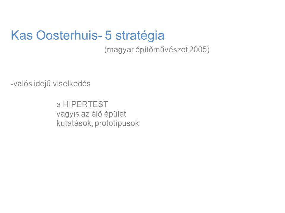 Kas Oosterhuis- 5 stratégia (magyar építőművészet 2005) -valós idejű viselkedés a HIPERTEST vagyis az élő épület kutatások, prototípusok