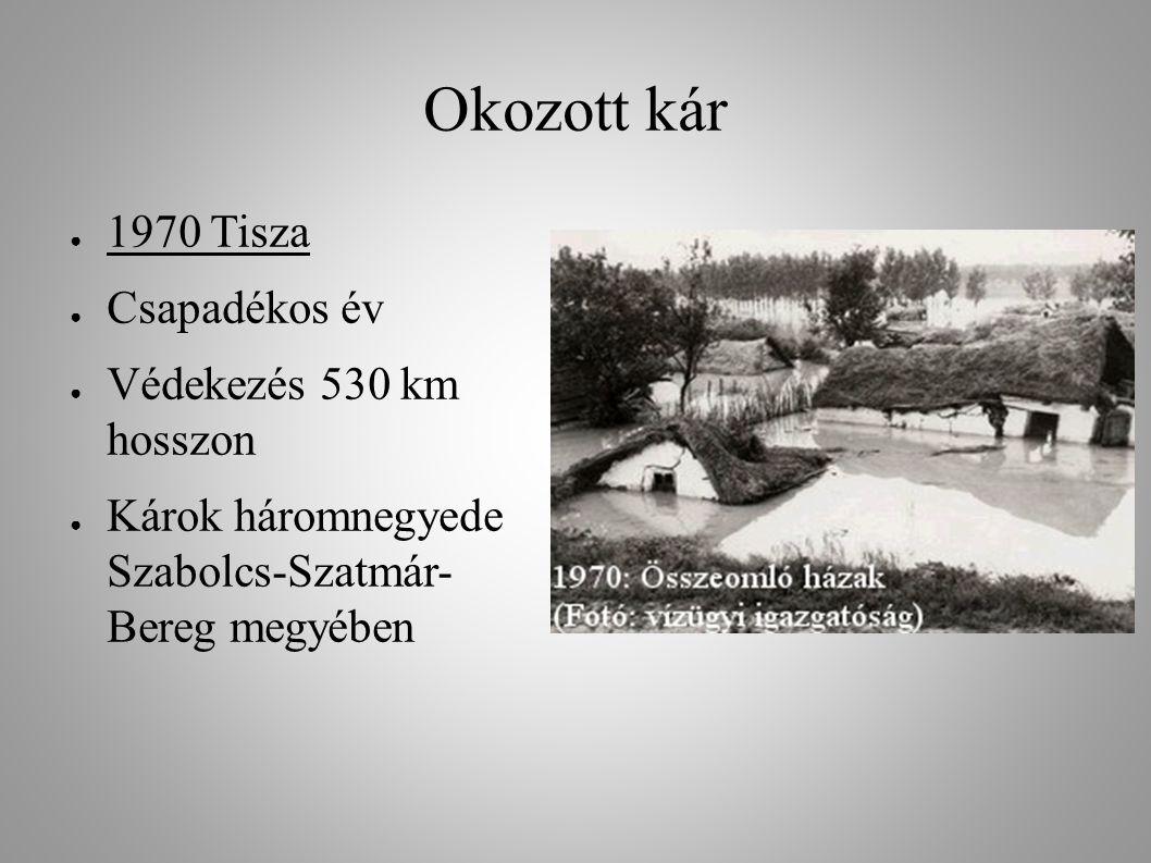 Okozott kár ● 1970 Tisza ● Csapadékos év ● Védekezés 530 km hosszon ● Károk háromnegyede Szabolcs-Szatmár- Bereg megyében