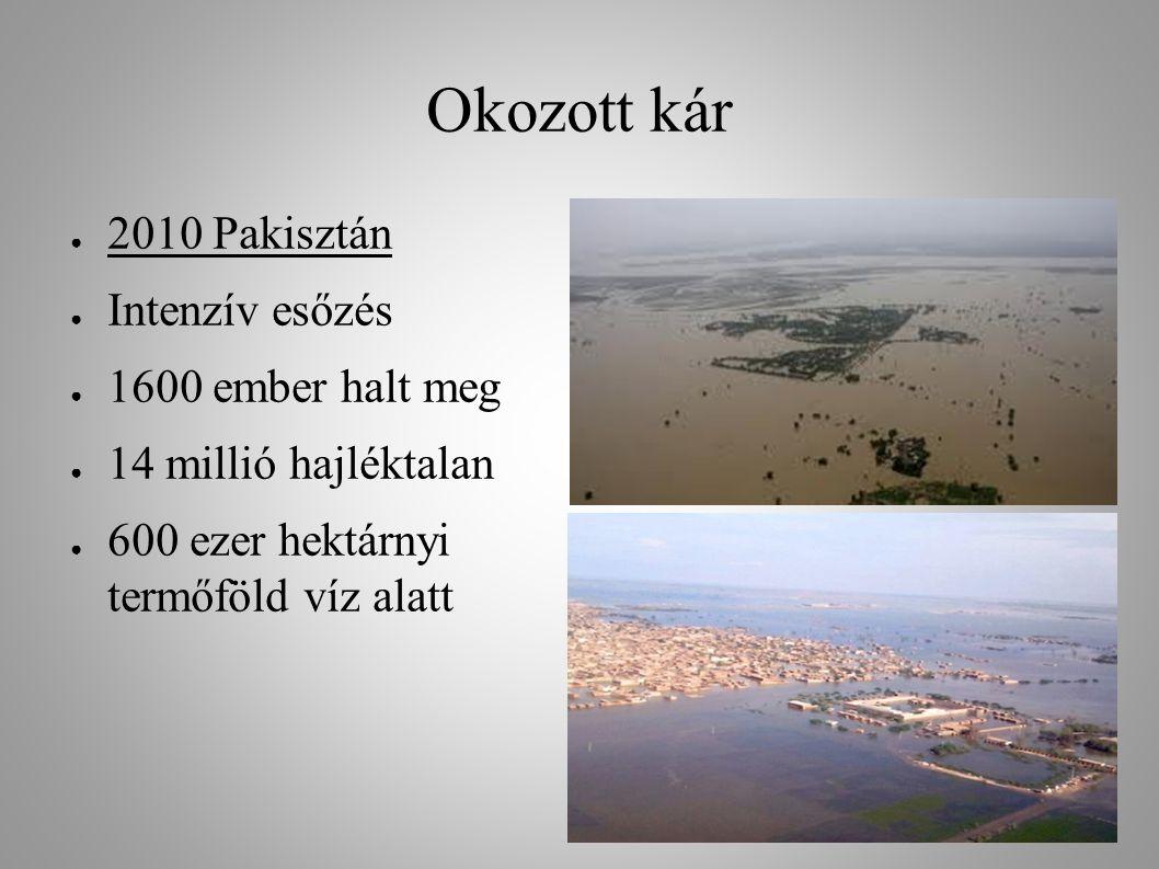 Okozott kár ● 2010 Pakisztán ● Intenzív esőzés ● 1600 ember halt meg ● 14 millió hajléktalan ● 600 ezer hektárnyi termőföld víz alatt