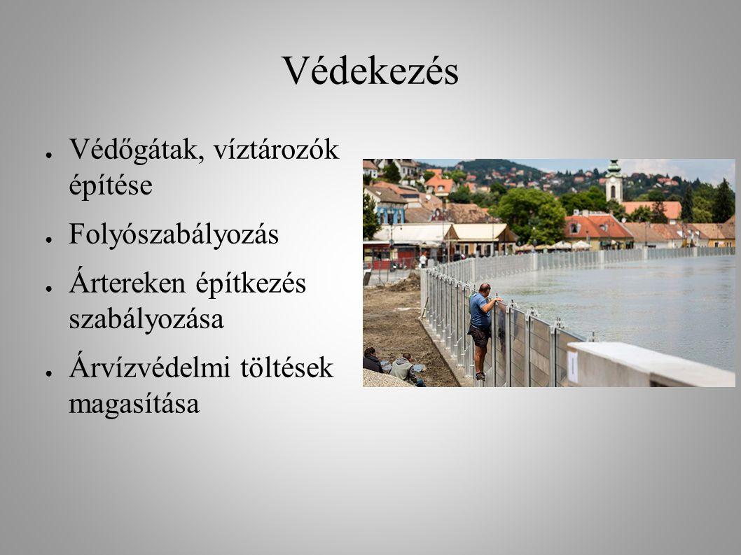 Védekezés ● Védőgátak, víztározók építése ● Folyószabályozás ● Ártereken építkezés szabályozása ● Árvízvédelmi töltések magasítása