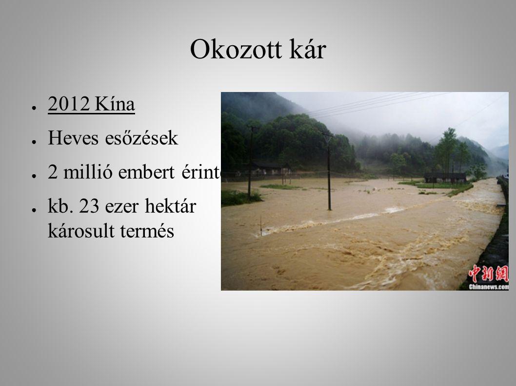 Okozott kár ● 2012 Kína ● Heves esőzések ● 2 millió embert érintett ● kb. 23 ezer hektár károsult termés