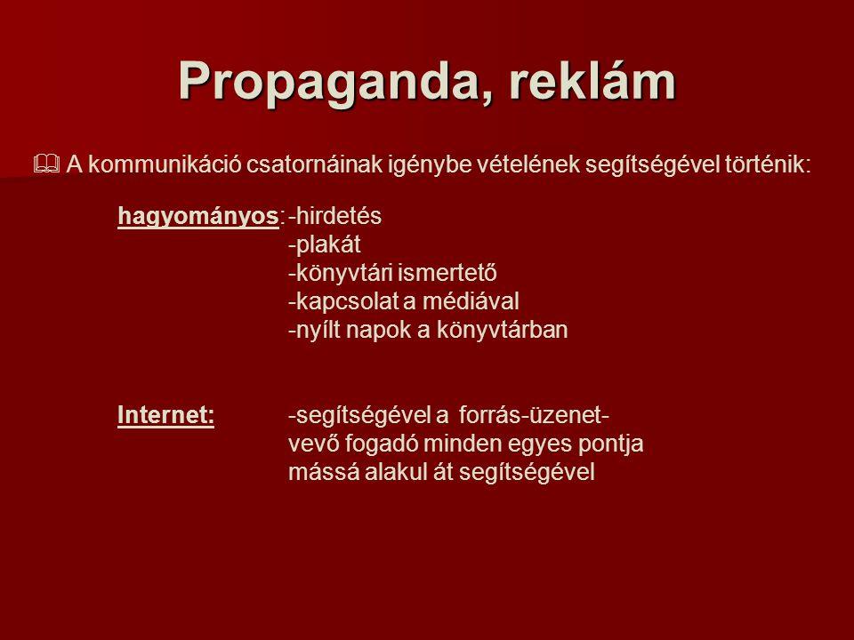Propaganda, reklám  A kommunikáció csatornáinak igénybe vételének segítségével történik: hagyományos:-hirdetés -plakát -könyvtári ismertető -kapcsolat a médiával -nyílt napok a könyvtárban Internet: -segítségével a forrás-üzenet- vevő fogadó minden egyes pontja mássá alakul át segítségével