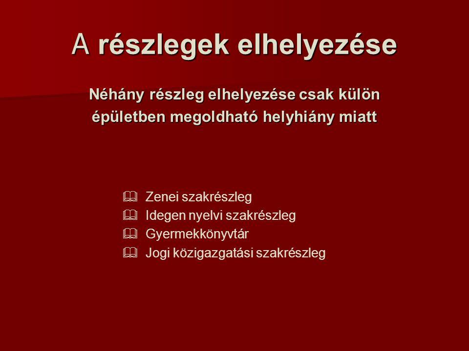A részlegek elhelyezése Néhány részleg elhelyezése csak külön épületben megoldható helyhiány miatt   Zenei szakrészleg   Idegen nyelvi szakrészleg   Gyermekkönyvtár   Jogi közigazgatási szakrészleg