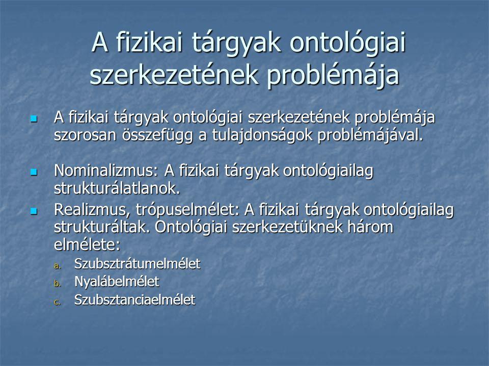 A fizikai tárgyak ontológiai szerkezetének problémája A fizikai tárgyak ontológiai szerkezetének problémája A fizikai tárgyak ontológiai szerkezetének