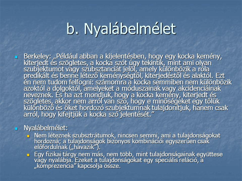 """b. Nyalábelmélet Berkeley: """"Például abban a kijelentésben, hogy egy kocka kemény, kiterjedt és szögletes, a kocka szót úgy tekintik, mint ami olyan sz"""
