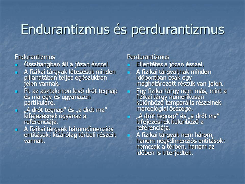 Endurantizmus és perdurantizmus Endurantizmus Összhangban áll a józan ésszel. Összhangban áll a józan ésszel. A fizikai tárgyak létezésük minden pilla