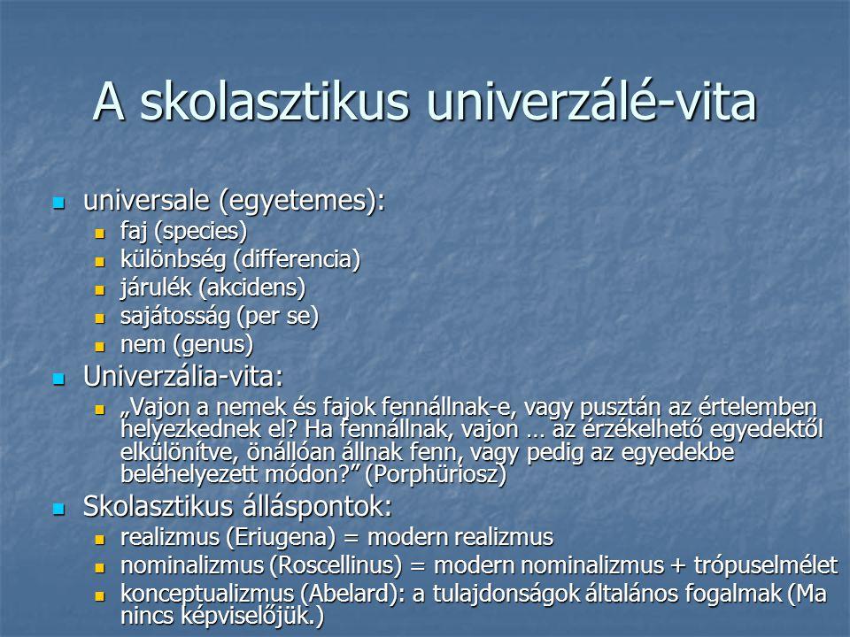 A skolasztikus univerzálé-vita universale (egyetemes): universale (egyetemes): faj (species) faj (species) különbség (differencia) különbség (differen