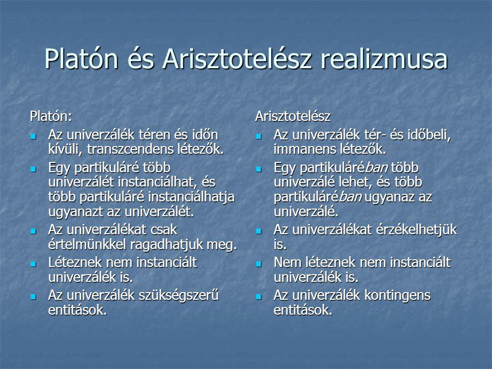 Platón és Arisztotelész realizmusa Platón: Az univerzálék téren és időn kívüli, transzcendens létezők. Az univerzálék téren és időn kívüli, transzcend