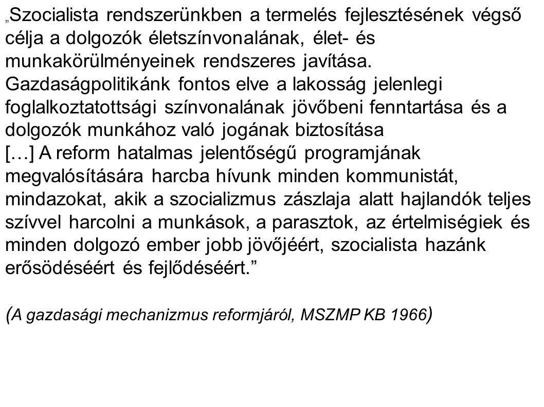 """"""" Szocialista rendszerünkben a termelés fejlesztésének végső célja a dolgozók életszínvonalának, élet- és munkakörülményeinek rendszeres javítása."""