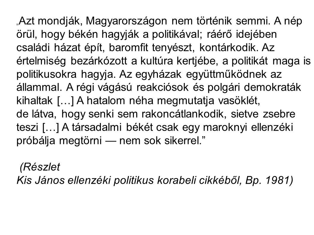 """"""" Azt mondják, Magyarországon nem történik semmi. A nép örül, hogy békén hagyják a politikával; ráérő idejében családi házat épít, baromfit tenyészt,"""