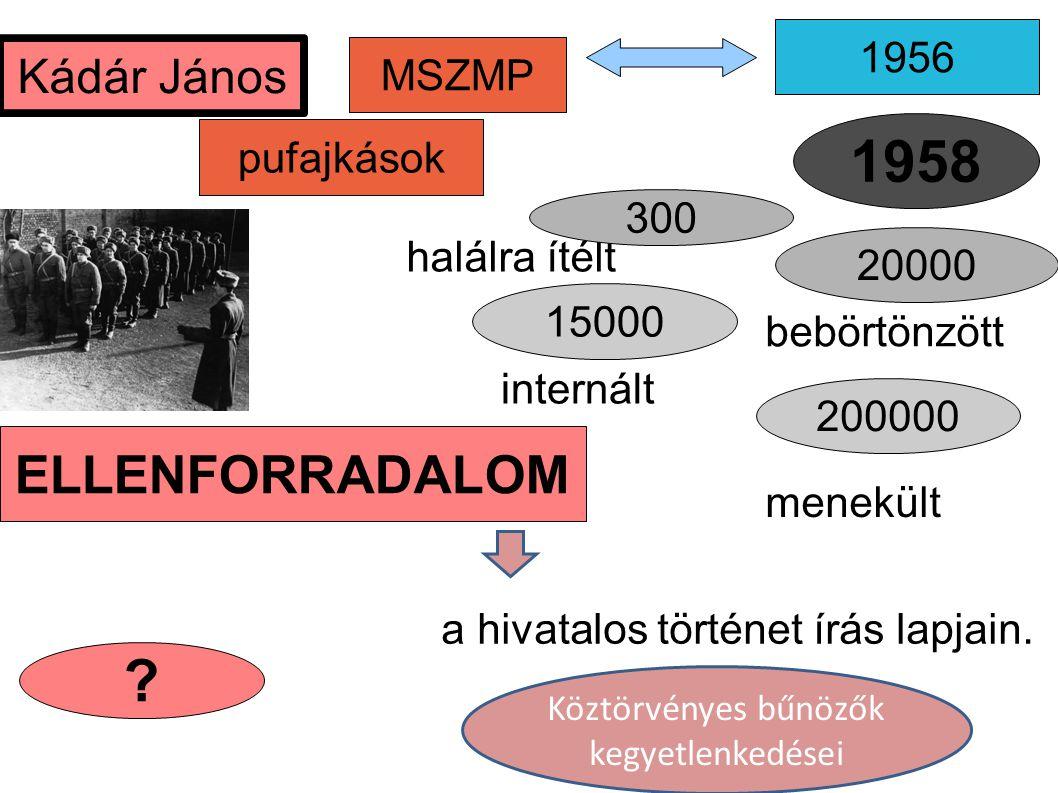 MSZMP 1956 pufajkások a hivatalos történet írás lapjain. ? 20000 Kádár János halálra ítélt 15000 ELLENFORRADALOM 300 1958 bebörtönzött internált 20000