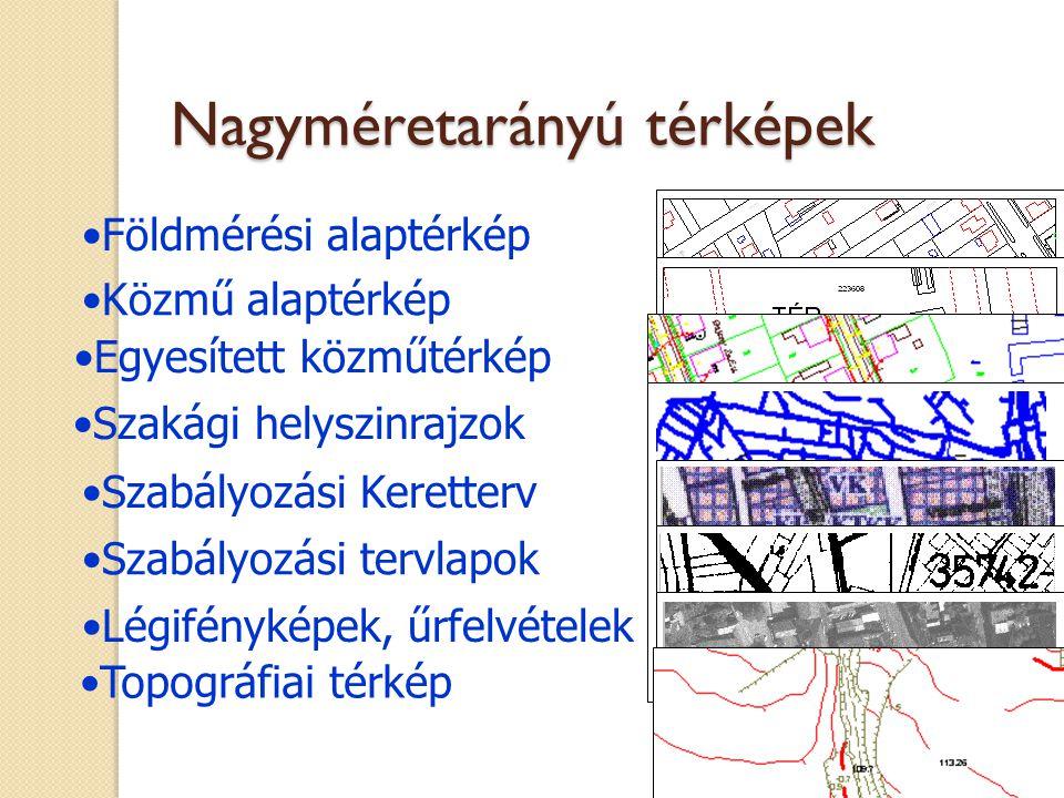 Földmérési alaptérkép Közmű alaptérkép Egyesített közműtérkép Szakági helyszinrajzok Szabályozási Keretterv Szabályozási tervlapok Légifényképek, űrfe