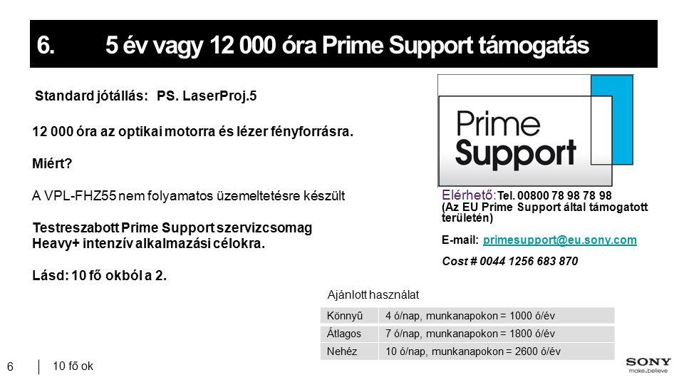 10 fő ok 6 6.5 év vagy 12 000 óra Prime Support támogatás Standard jótállás: PS.