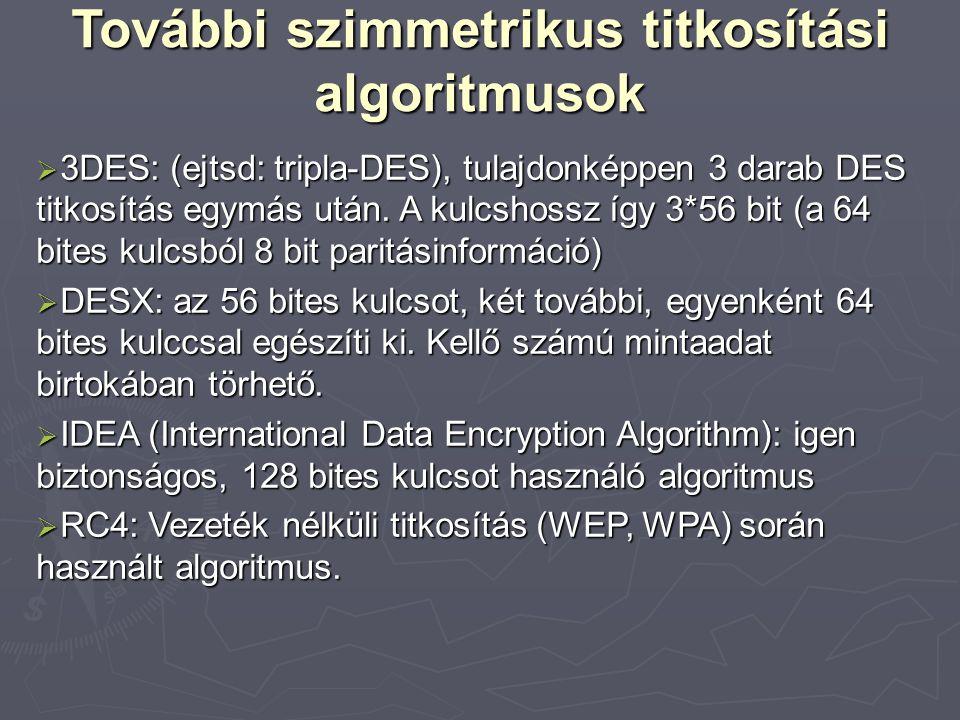 További szimmetrikus titkosítási algoritmusok  3DES: (ejtsd: tripla-DES), tulajdonképpen 3 darab DES titkosítás egymás után.