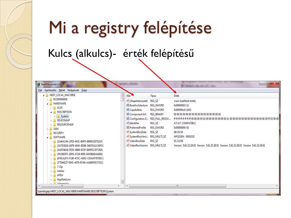 Mi a registry felépítése Kulcs (alkulcs)- érték felépítésű