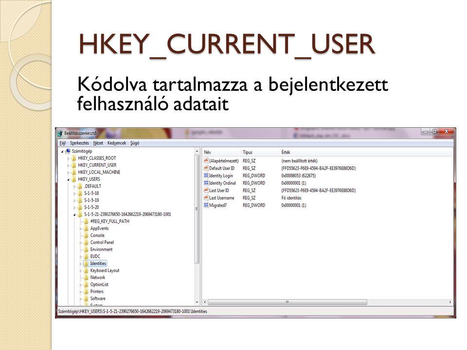 HKEY_CURRENT_USER Kódolva tartalmazza a bejelentkezett felhasználó adatait