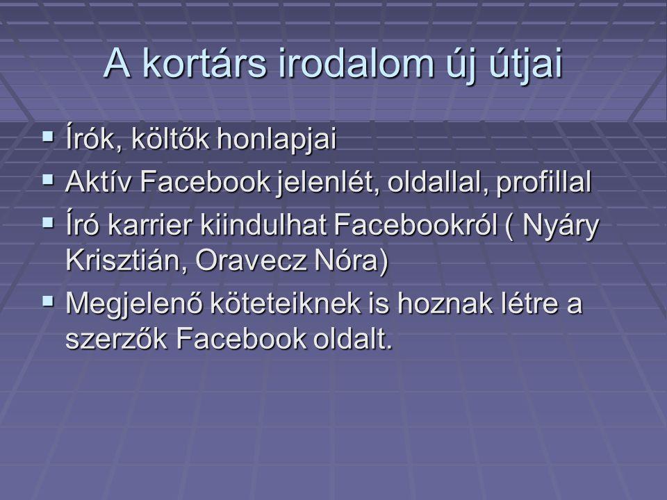 A kortárs irodalom új útjai  Írók, költők honlapjai  Aktív Facebook jelenlét, oldallal, profillal  Író karrier kiindulhat Facebookról ( Nyáry Krisz