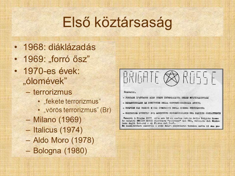 """Első köztársaság 1968: diáklázadás 1969: """"forró ősz 1970-es évek: """"ólomévek –terrorizmus """"fekete terrorizmus """"vörös terrorizmus (Br) –Milano (1969) –Italicus (1974) –Aldo Moro (1978) –Bologna (1980)"""