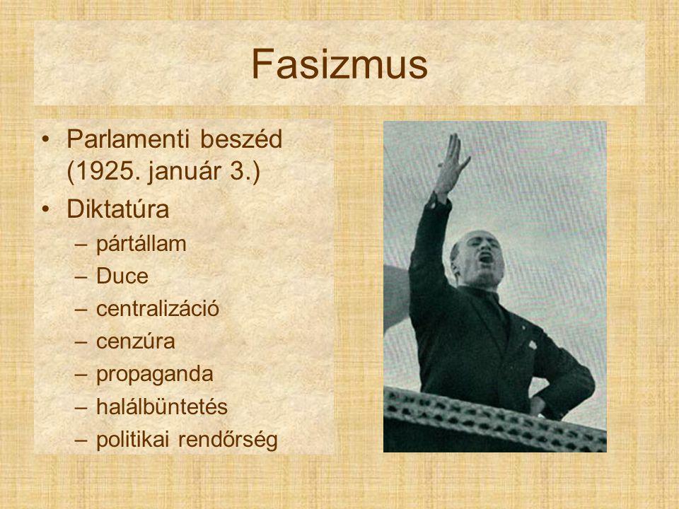 Fasizmus Balilla korporációk május 1.  április 21. autarkia AGIP (1926) közmunkák repülés sport