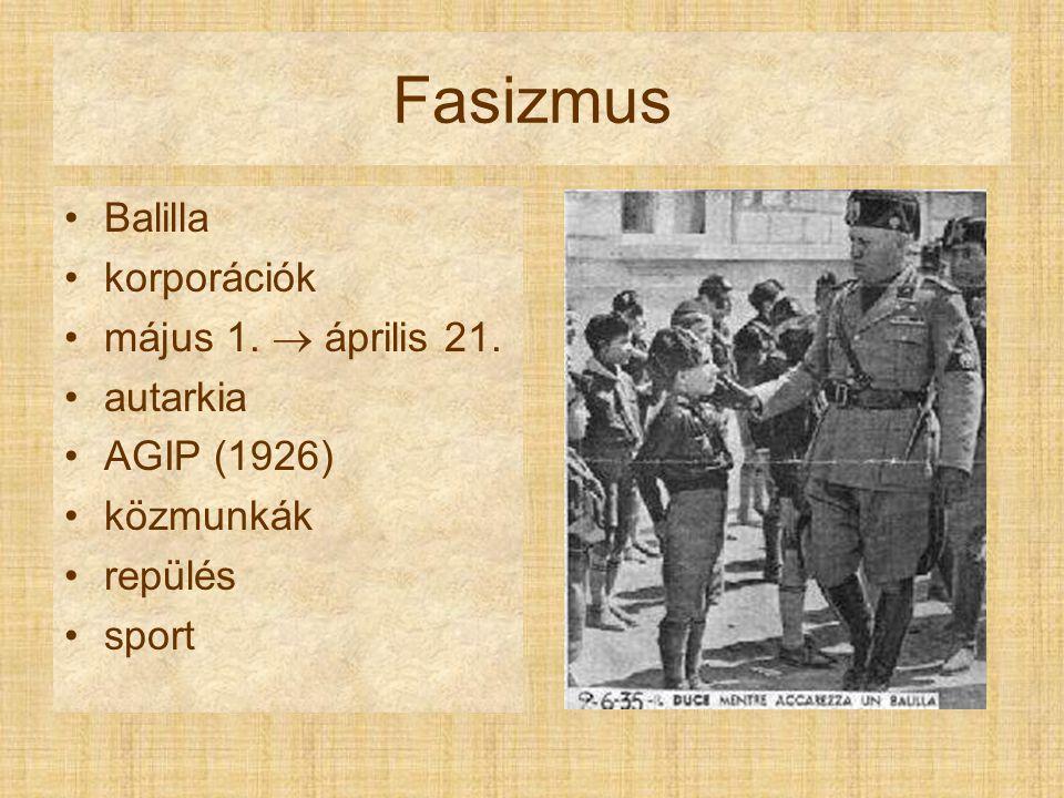 Fasizmus Külpolitika –Lateráni egyezmények (1929) –Etiópia (1935–1936) –Róma-Berlin tengely (1936) –Albánia annektálása (1939) –Acélpaktum (1939)