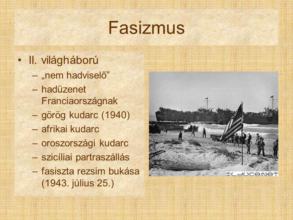 Fasizmus Kettészakadt ország –Repubblica di Salò  Resistenza (1945.