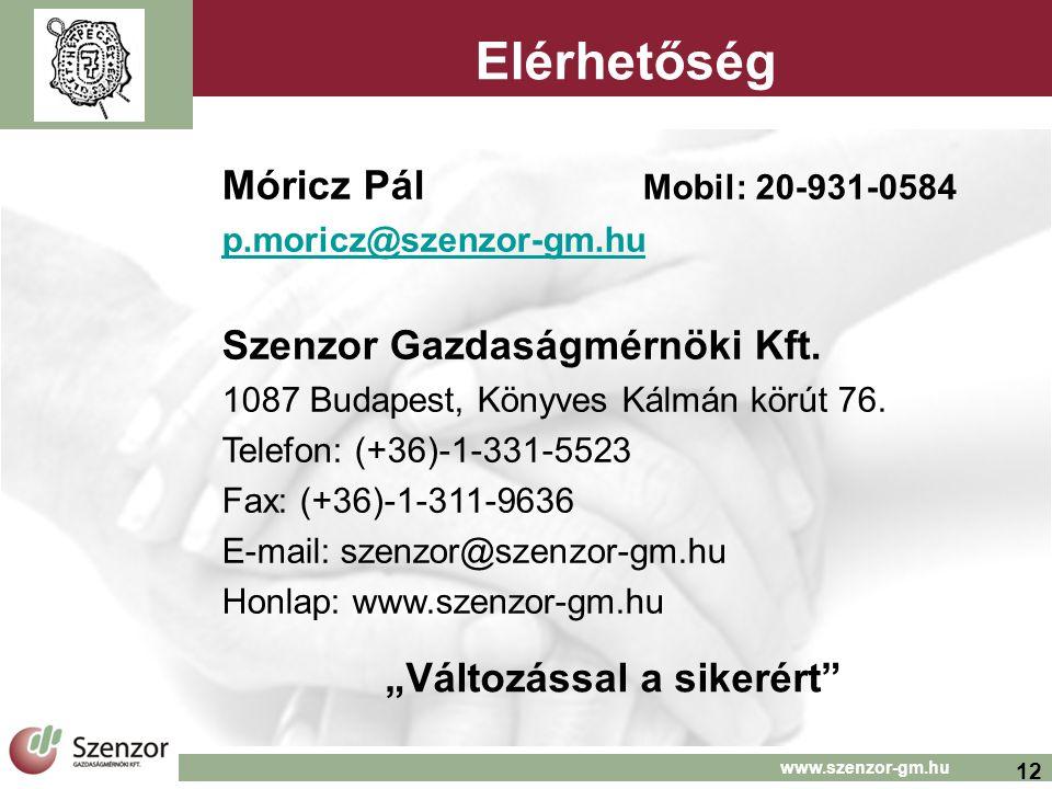 12 www.szenzor-gm.hu Elérhetőség Móricz Pál Mobil: 20-931-0584 p.moricz@szenzor-gm.hu Szenzor Gazdaságmérnöki Kft. 1087 Budapest, Könyves Kálmán körút