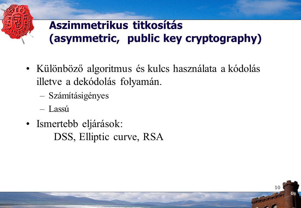 10 Aszimmetrikus titkosítás (asymmetric, public key cryptography) Különböző algoritmus és kulcs használata a kódolás illetve a dekódolás folyamán.