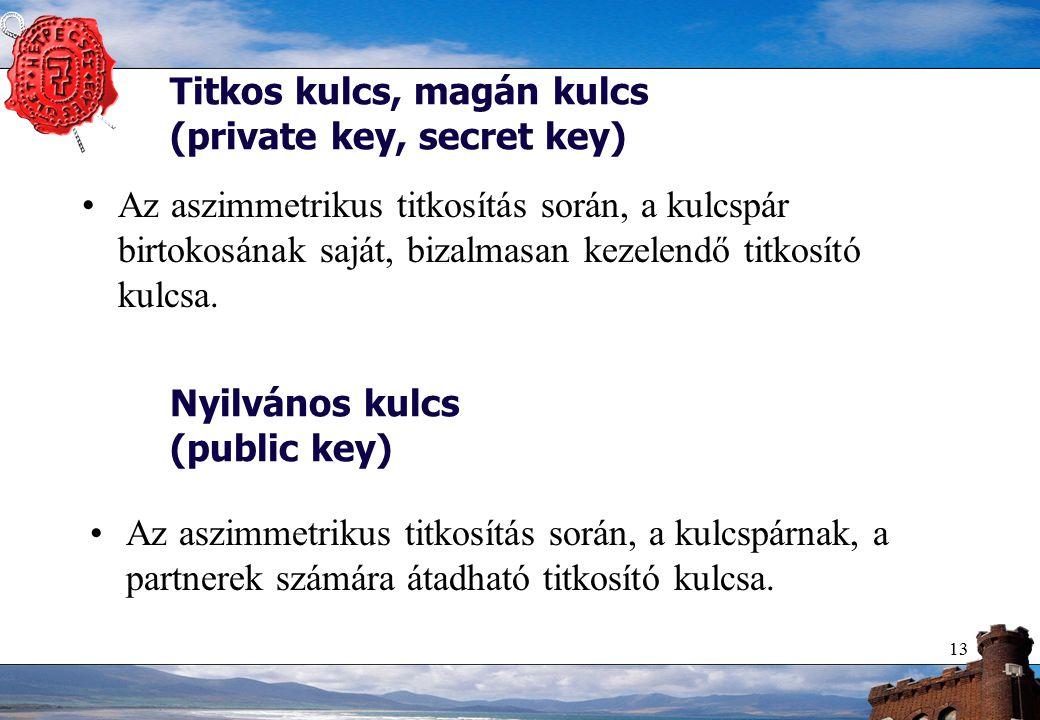 13 Titkos kulcs, magán kulcs (private key, secret key) Az aszimmetrikus titkosítás során, a kulcspár birtokosának saját, bizalmasan kezelendő titkosító kulcsa.