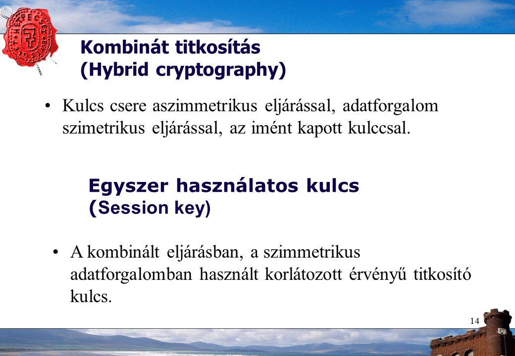 14 Kombinát titkosítás (Hybrid cryptography) Kulcs csere aszimmetrikus eljárással, adatforgalom szimetrikus eljárással, az imént kapott kulccsal.