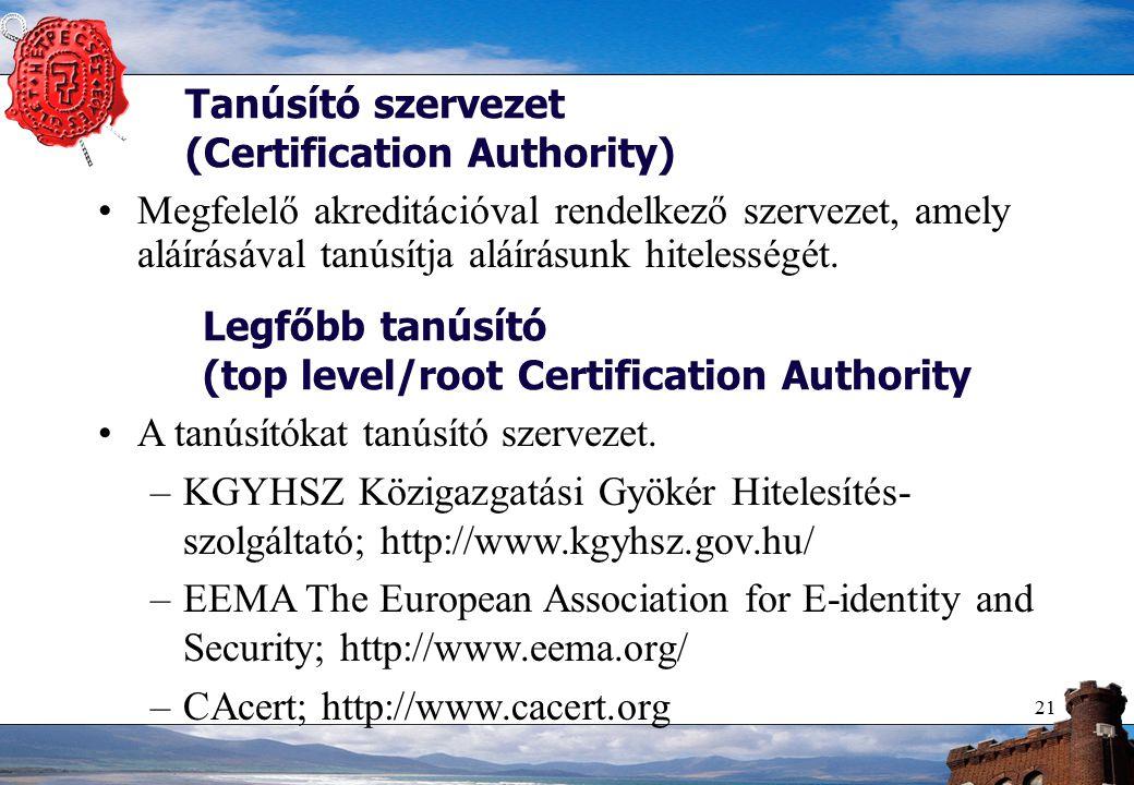 21 Tanúsító szervezet (Certification Authority) Megfelelő akreditációval rendelkező szervezet, amely aláírásával tanúsítja aláírásunk hitelességét.
