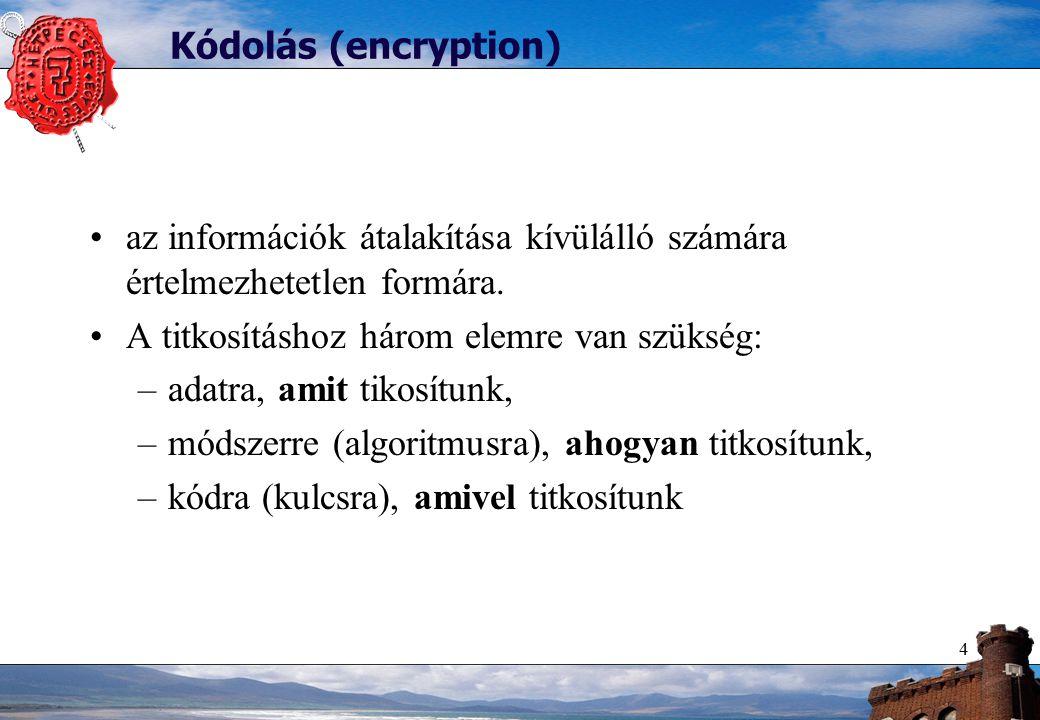 4 Kódolás (encryption) az információk átalakítása kívülálló számára értelmezhetetlen formára.