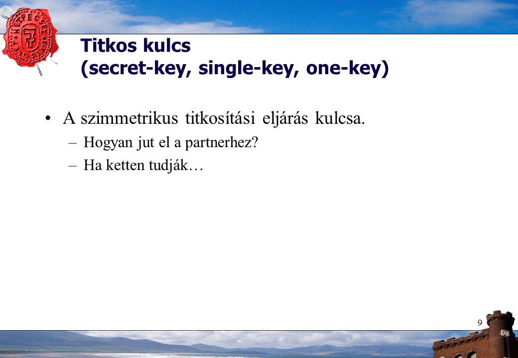 9 Titkos kulcs (secret-key, single-key, one-key) A szimmetrikus titkosítási eljárás kulcsa.