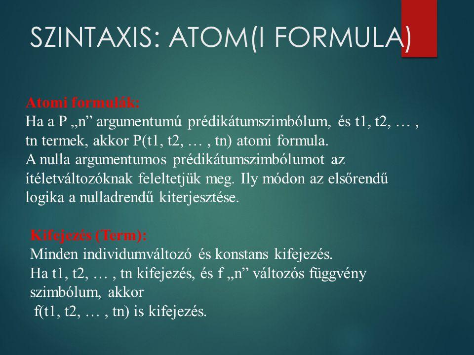"""SZINTAXIS: ATOM(I FORMULA) Atomi formulák: Ha a P """"n"""" argumentumú prédikátumszimbólum, és t1, t2, …, tn termek, akkor P(t1, t2, …, tn) atomi formula."""