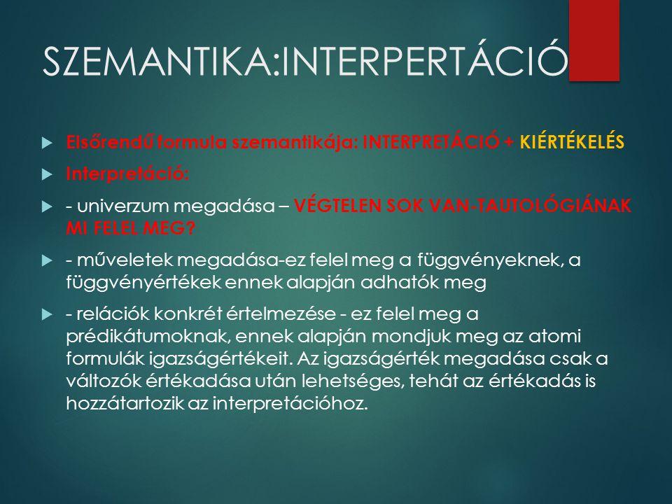 SZEMANTIKA:INTERPERTÁCIÓ  Elsőrendű formula szemantikája: INTERPRETÁCIÓ + KIÉRTÉKELÉS  Interpretáció:  - univerzum megadása – VÉGTELEN SOK VAN-TAUT