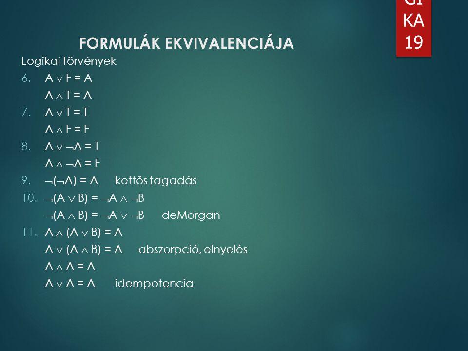 LO GI KA 19 FORMULÁK EKVIVALENCIÁJA Logikai törvények 6.A  F = A A  T = A 7.A  T = T A  F = F 8.A   A = T A   A = F 9.  (  A) = Akettős taga