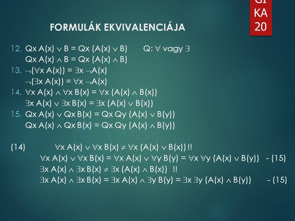 LO GI KA 20 FORMULÁK EKVIVALENCIÁJA 12.Qx A(x)  B = Qx (A(x)  B)Q:  vagy  Qx A(x)  B = Qx (A(x)  B) 13.  (  x A(x)) =  x  A(x)  (  x A(x))