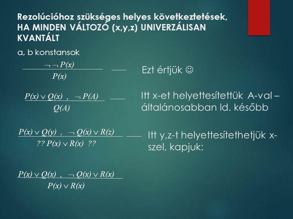 Rezolúcióhoz szükséges helyes következtetések, HA MINDEN VÁLTOZÓ (x,y,z) UNIVERZÁLISAN KVANTÁLT   P(x) P(x) P(x)  Q(x),  P(A) Q(A) P(x)  Q(y), 