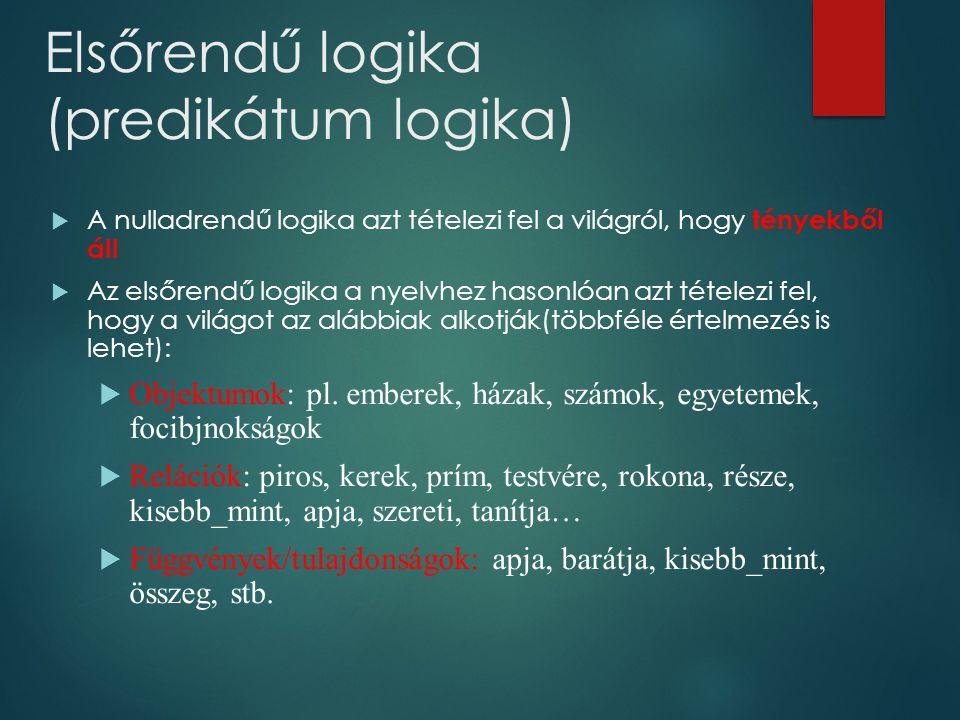 Elsőrendű logika (predikátum logika)  A nulladrendű logika azt tételezi fel a világról, hogy tényekből áll  Az elsőrendű logika a nyelvhez hasonlóan