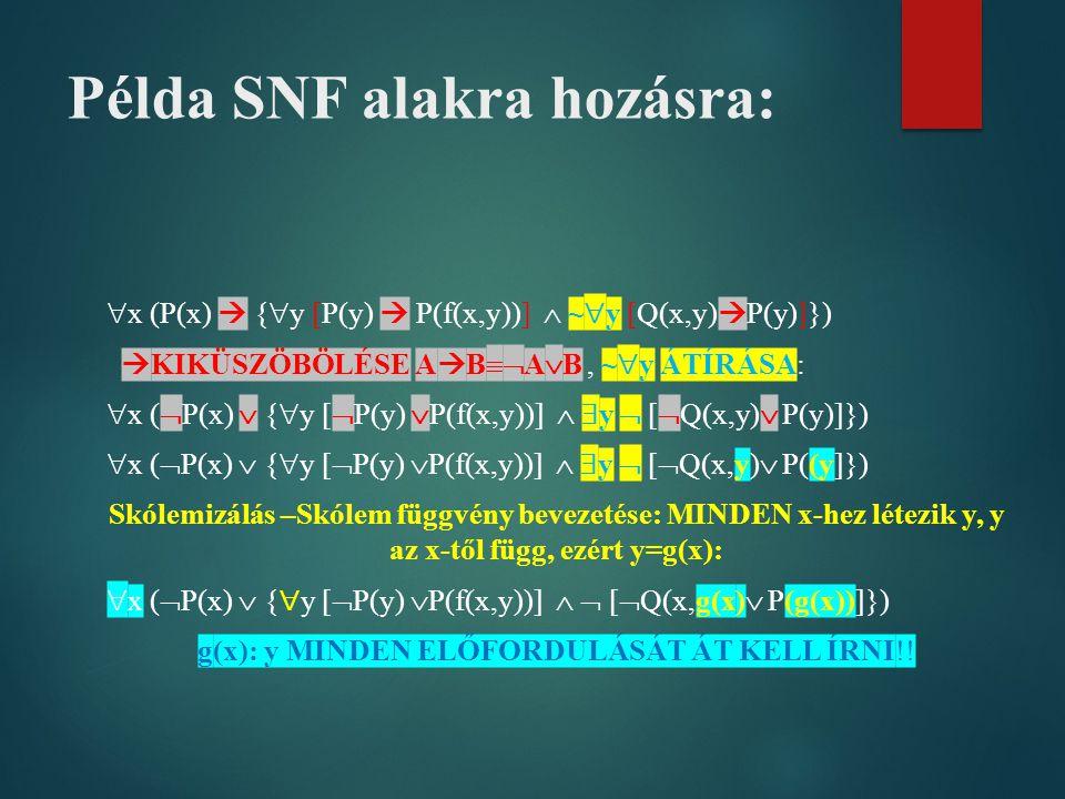 Példa SNF alakra hozásra:  x (P(x)  {  y [P(y)  P(f(x,y))]  ~  y [Q(x,y)  P(y)]})  KIKÜSZÖBÖLÉSE A  B  A  B, ~  y ÁTÍRÁSA:  x (  P(x) 